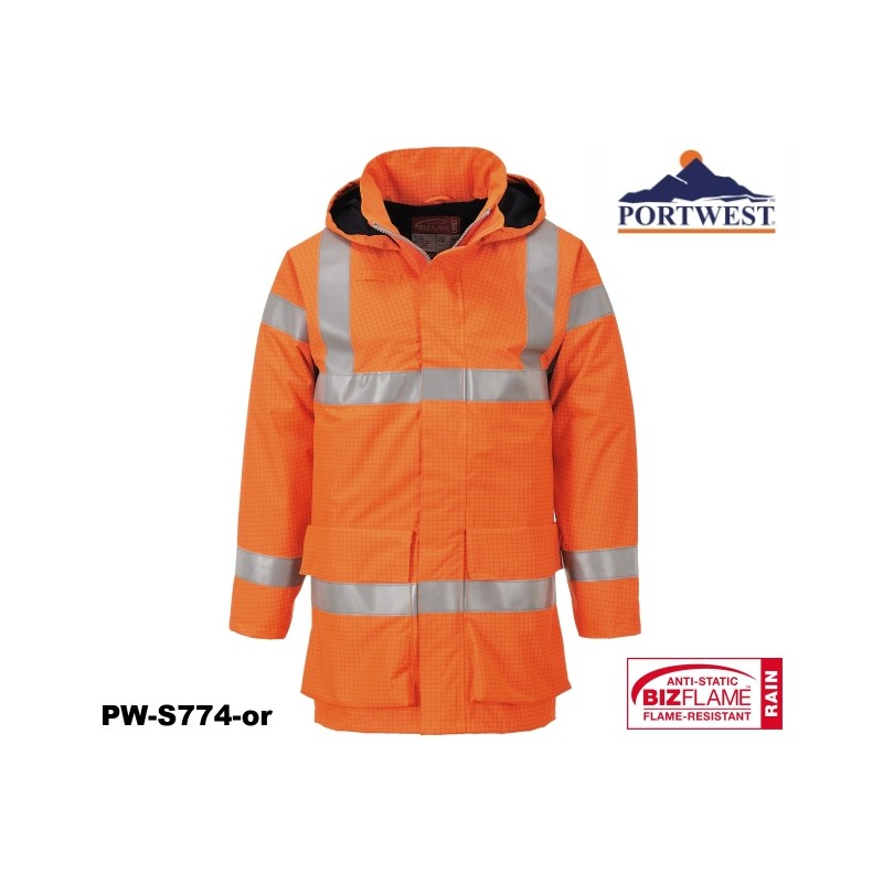 regen warnschutzjacke multinorm bizflame portwest mit gort norm orange